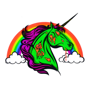 ZOMBIE UNICORN RAINBOW NEON