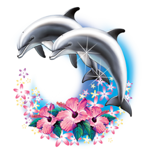 DOLPHINS OVER HIBISCUS    13