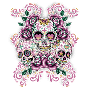 3 SUGAR SKULLS W/ FLORAL BACKGROUND