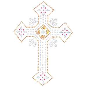 ORNATE CROSS RHINESTUD