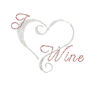 WINE HEART RHINESTONE