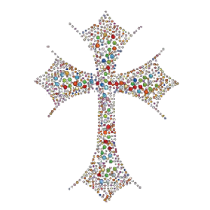 MULTI COLOR CROSS RHST