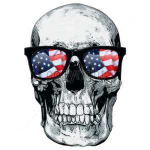 SKULL WITH U.S. FLAG GLASSES