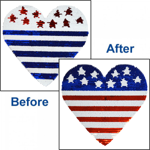 US FLAG HEART REVERSIBLE SEQUINS