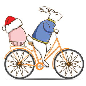 RABBIT RIDING BICYCLE XMAS EGG