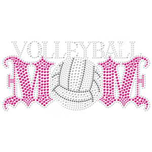 VOLLEYBALL MOM RHINESTUD PINK
