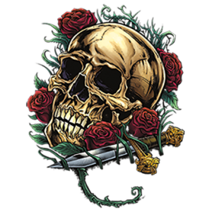 SKULL WITH ROSES AND DAGGER