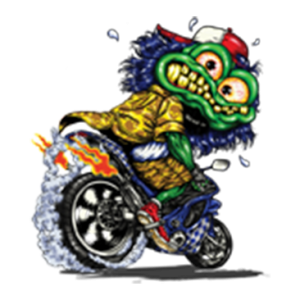 GREEN MONSTER ON MOTORCYCLE