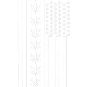 POT LEAF AMERICAN FLAG-WHITE