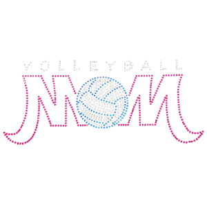 VOLLEYBALL MOM NEON RHINESTUD