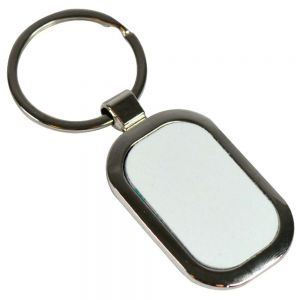 ROUNDED RECTANGULAR METAL KEYCHAIN