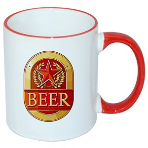 CASE OF 36 -11 OZ RED HANDLE MUGS