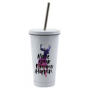 15 oz STAINLESS STEEL CUP WITH STRAW - WHITE