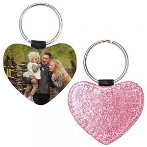 HEART LEATHER KEYCHAIN -PINK GLITTER