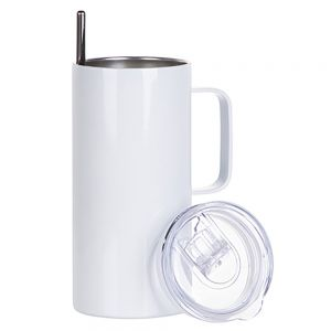 16 OZ STAINLESS STEEL TUMBLER WITH HANDLE - WHITE