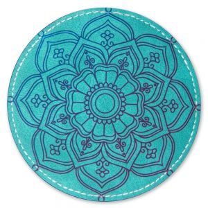 ROUND LEATHER COASTER -GREEN