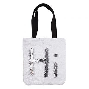 REVERSIBLE SEQUIN TOTE BAG - SILVER/WHITE